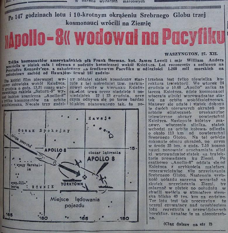 Dziennik Zachodni z 28 grudnia 1968 o powrocie Apolla 8 na Ziemię