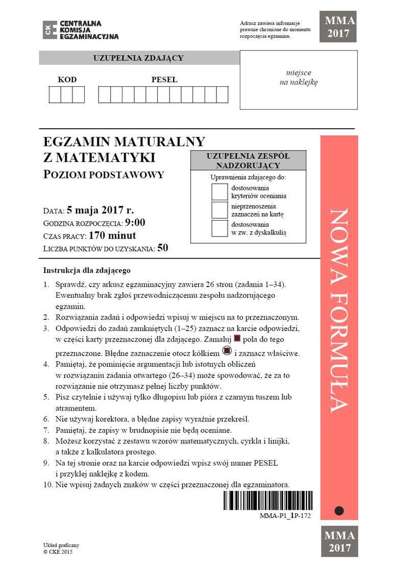 Matura - matematyka 2017 - poziom podstawowy - oficjalny arkusz CKE