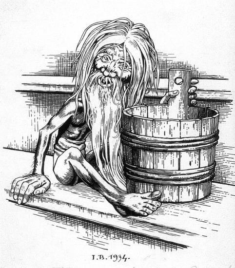 BannikDemon władający łaźnią. Bannik był zasadniczo wrogi wobec ludzi i mógł utopić kąpiących się
