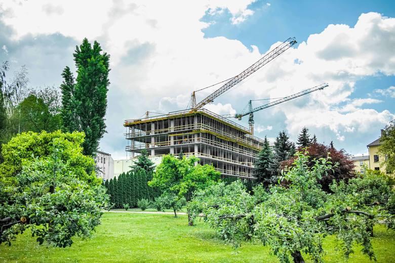 Kraków. Rośnie apartamentowiec na Stradomiu. Ratują polichromie, ale inwestycja wciąż wzbudza kontrowersje [ZDJĘCIA]
