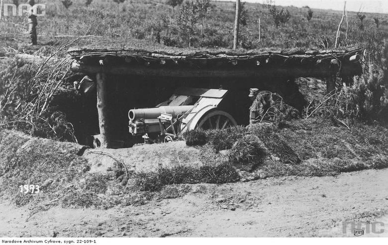 Działo wojsk Cesarsko-Królewskich na stanowisku ogniowym, między 1914 a 1918.