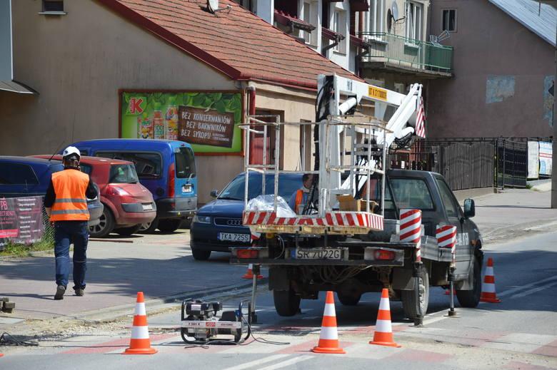 Prace na ulicy Kościuszki w Proszowicach