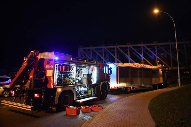 Ciężarówka cyrku Zalewskiego utknęła pod mostem kolejowym w Przemyślu [ZDJĘCIA INTERNAUTY]