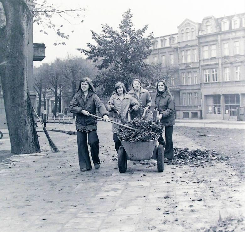 """Taki to """"urobek"""" ze zbierania liści jesienią 1973 roku na al. Wojska Polskiego"""