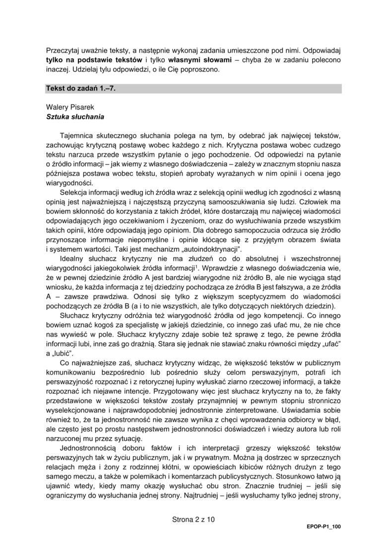 Matura Próbna 2021 z języka polskiego - sugerowane odpowiedzi w dalszej części galerii.