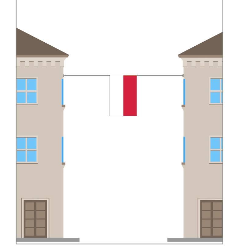 Jednym ze sposobów eksponowania flagi państwowej RP jest wywieszenie pionowo na linie między domami. W takim przypadku barwa biała powinna być po lewej