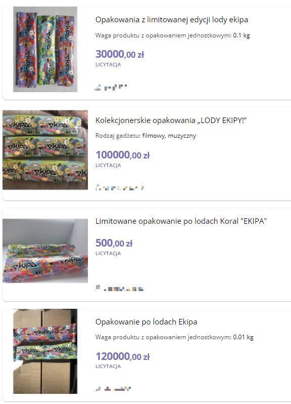 Ale to jeszcze nie koniec szaleństwa. Na aukcjach internetowych pojawiają się oferty sprzedaży pustych opakowań po lodach. Ceny? Niektóre to 10-15 złotych,