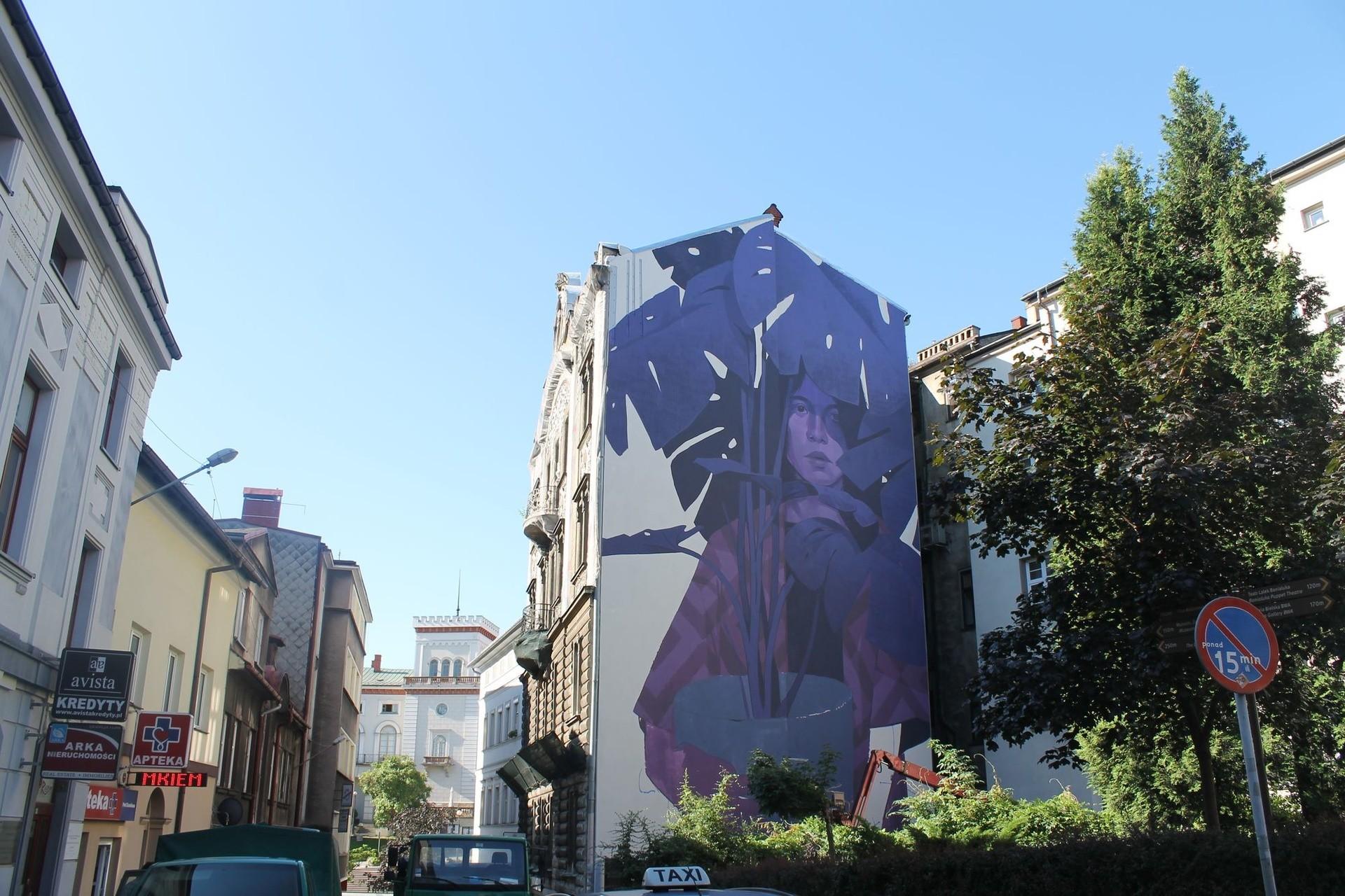 Mural w bielsku bia ej kobieta z ro lin na cianie przy for Mural na tamie w solinie