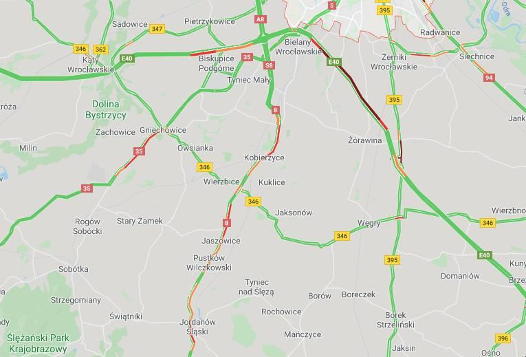 Korki na drogach pod Wrocławiem. Największe na autostradzie