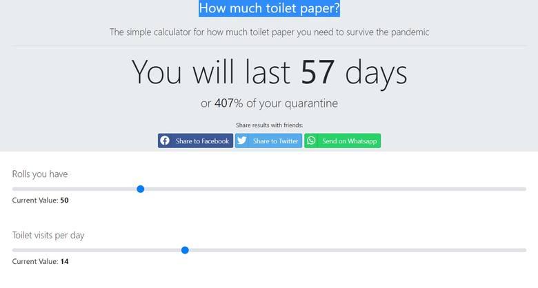 Internetowy kalkulator papieru toaletowego. Sprawdź, czy wystarczy Ci papieru toaletowego na czas pandemii