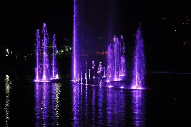 Próbny pokaz fontanny na stawku Barlickiego w Opolu.