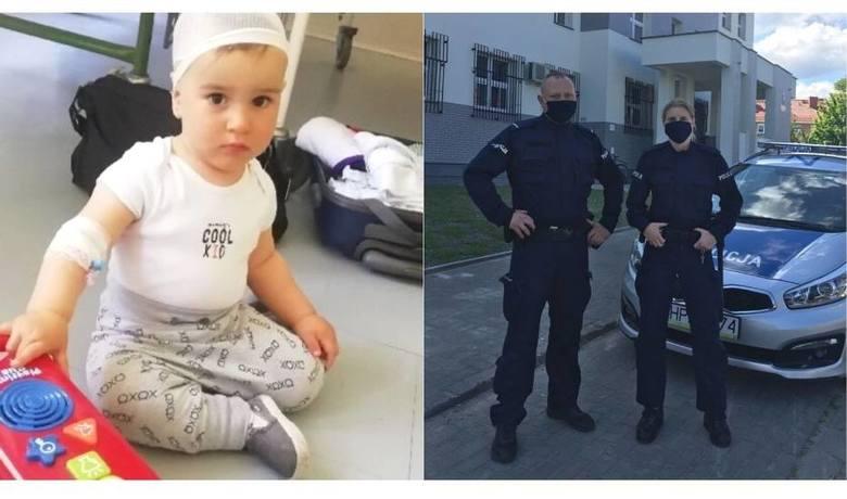 Policjanci z Malborka, poproszeni przez rodziców małego Nikodema, eskortowali chorego chłopca w drodze do szpitala w Elblągu
