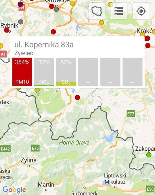 Żywiec -  354 proc.  pył zawieszony PM10 Smog w Żywcu, Tychach i Gliwicach. To właśnie w tych miastach w czwartek rano mamy najwięcej zanieczyszczeń