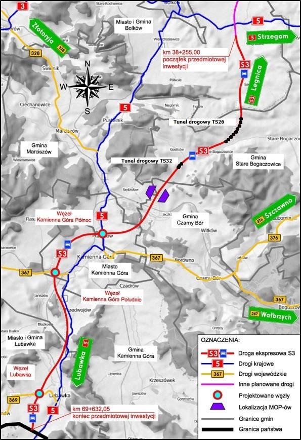 Z Kamiennej Góry do granicy z Czechami drogą S3 w 4 minuty. Na razie lotem (ZOBACZ)