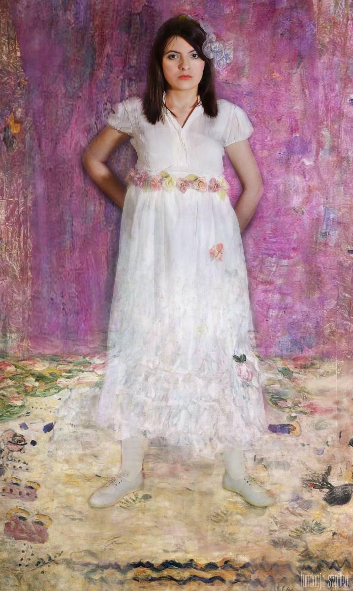 """Zdjęcie wg obrazu """"Portret Mady Primavesi"""", pozuje Aneta Kozyra."""