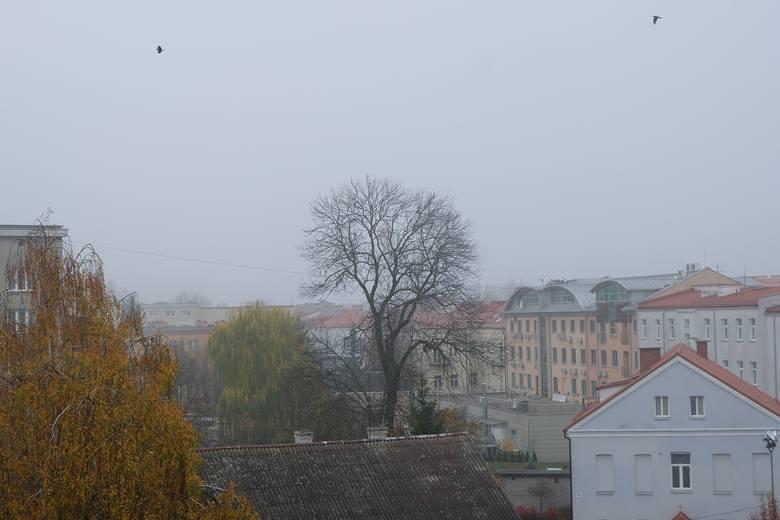 Między drzewem a blokiem po lewej zazwyczaj widoczny jest kościół