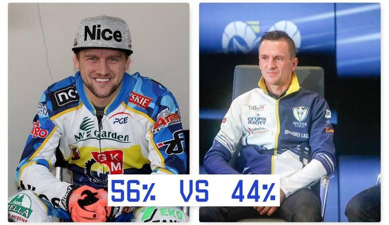Artiom Łaguta (MrGarden GKM Grudziądz) - Grigorij Łaguta (Motor Lublin)56% – 44%Pojedynek braci Łagutów. Bukmacherzy zdecydowanie większe szanse na lepszym