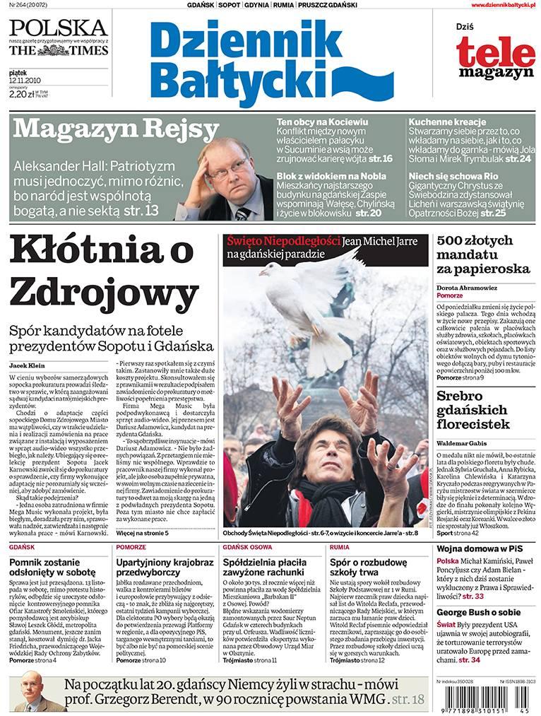 """Pierwsza strona """"Dziennika Bałtyckiego"""", w którym się uazał reportaż"""