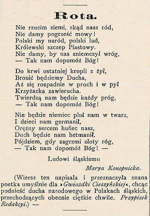 """Rękopis """"Roty"""" przekazany ks. Józefowi Londzinowi, redaktorowi naczelnemu """"Gwiazdki Cieszyńskiej""""."""