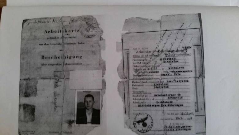 Arbeitskarte  Mieczysława Kosteckiego na robotach przymusowych w Niemczech