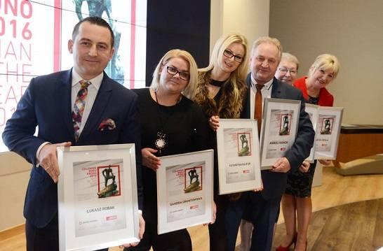 Zwycięzcy plebiscytu w roku 2016. Od lewej Łukasz Robak, Sandra Gruntowska, Katarzyna Rajfur, Andrzej Iwanicki, Krystyna Orwat i Danuta Cieśla.