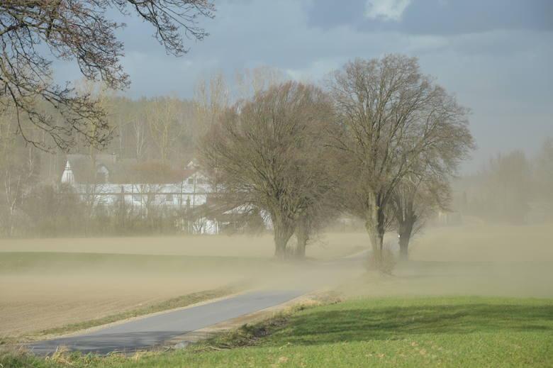 Bardzo silny wiatr w Bytowie. Porywy wiatru unoszą piasek ograniczając widoczność na drogach. Uważajcie na trasie w kierunku Pomyska Wielkiego i Świątkowa.