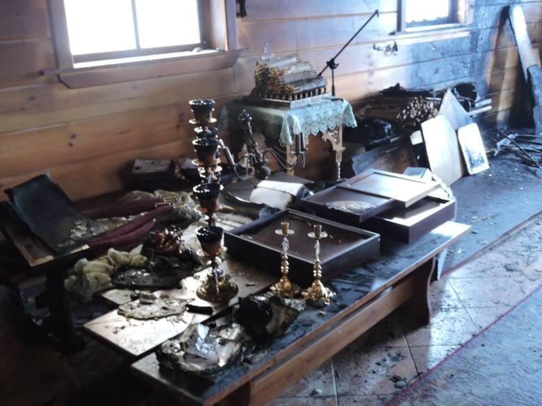 Pożar cerkwi w skicie w Odrynkach spowodował olbrzymie straty