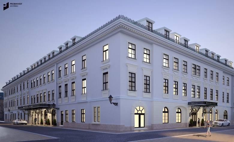 Wizualizacja nowego hotelu Saskiego, który będzie częścią sieci Hilton. Ujęcie róg Sławkowskiej i Tomasza
