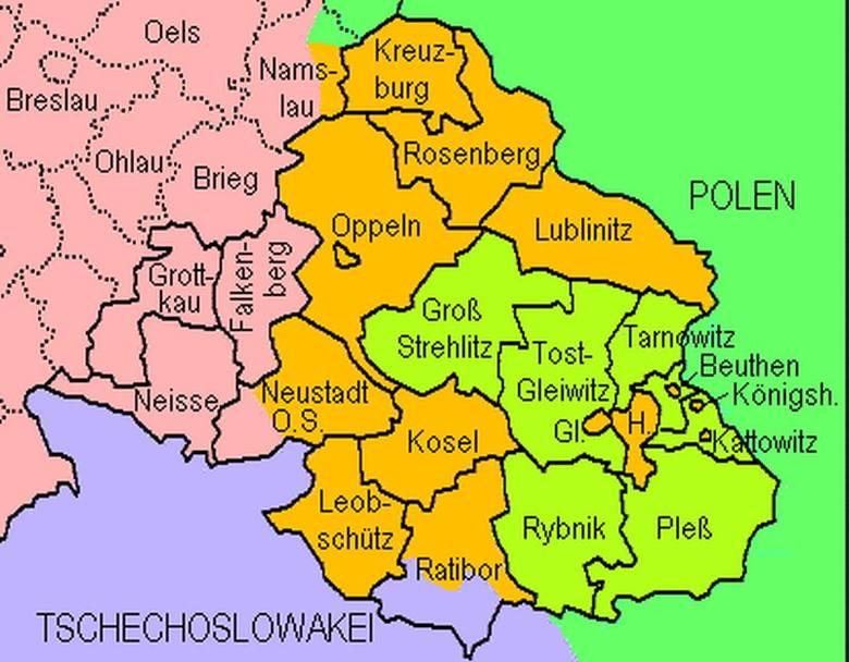 Wyniki plebiscytu z 1921 roku na Śląsku. Na zielono zaznaczono powiaty głosujące za Polską, na brązowo - za Niemcami.