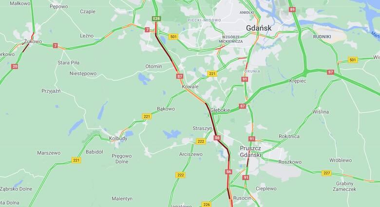 Korki na bramkach A1 w Rusocinie w niedzielę 6.06.2021