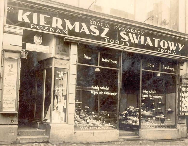 Handlowy międzywojenny Toruń. Sklep braci Rymarskich przy Rynku Staromiejskim (w pobliżu obecnej cukierni Lenkiewicza)