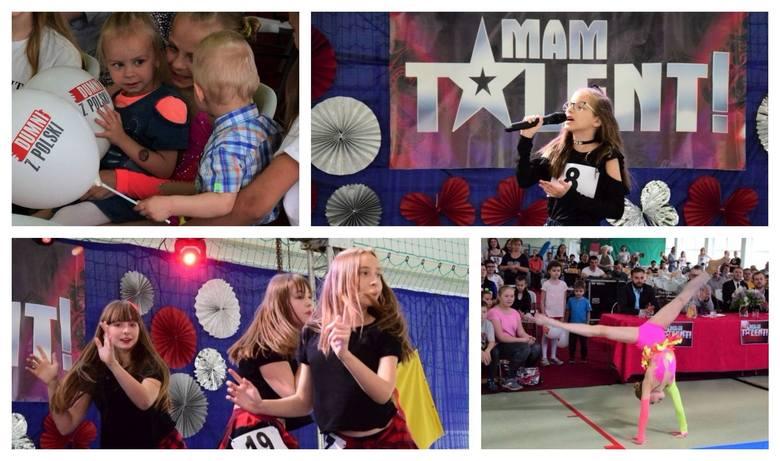 """Aż 37 wykonawców wzięło udział w gminnym konkursie """"Mam talent"""" zorganizowanym w hali sportowej w Rojewie. Uczniowie grali, śpiewali"""