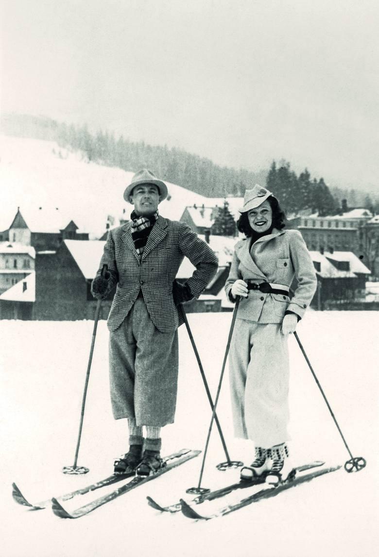 Jan Kiepura z żoną Mártą Eggerth na nartach, Krynica, 1937 rok<br />