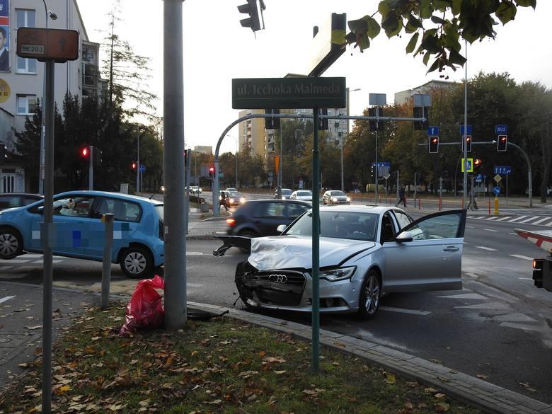 Do zdarzenia doszło w środę po godz. 17 na jednym z bardziej uczęszczanych skrzyżowań w Białymstoku - Malmeda z Aleją Piłsudskiego
