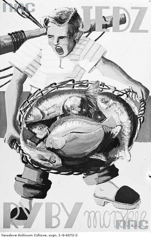 """Plakat reklamowy projektu K. Ostrowskiego propagujący spożywanie ryb morskich.<br /> <font color=""""blue""""><a href="""" http://www.audiovis.nac.gov.pl/obraz/97198/2f9408cf38524e55bd83a3c2c0ecaa5c/""""><b>Zobacz zdjęcie w zbiorach NAC</b></a> </font>"""