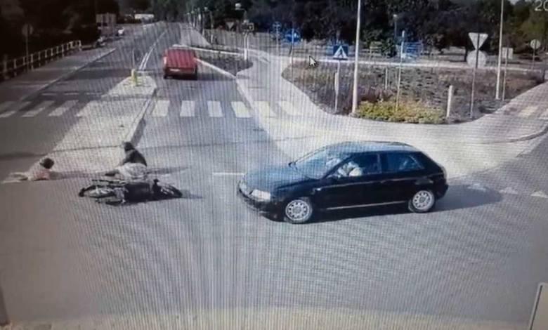 Wypadek na rondzie w Zdzieszowicach. Ranny motocyklista i dziecko