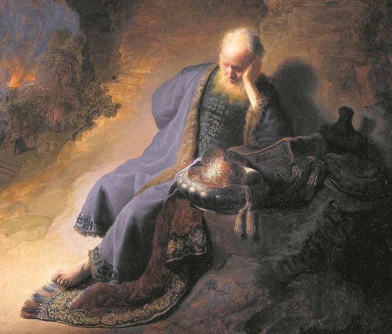 Rembrandt, Jeremiasz opłakujący zburzenie Jerozolimy. Według Starego Testamentu był on prorokiem, któremu Bóg nakazał życie w celibacie
