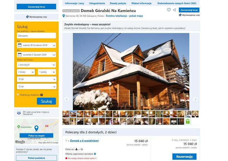 15 040 złNa trzecim miejscu mamy ofertę wynajmu całego domku góralskiego na Kamieńcu. To dom dla max. 12 osób. Idealny dla dużej rodziny. jego dodatkowym