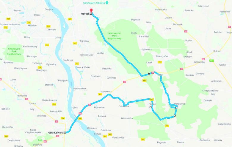Z Góry Kalwarii prawą stroną Wisły w stronę Otwocka. 40 km. Poziom trudności: **Trasa na rower crossowy lub MTB. Możliwe warianty zarówno ułatwiające