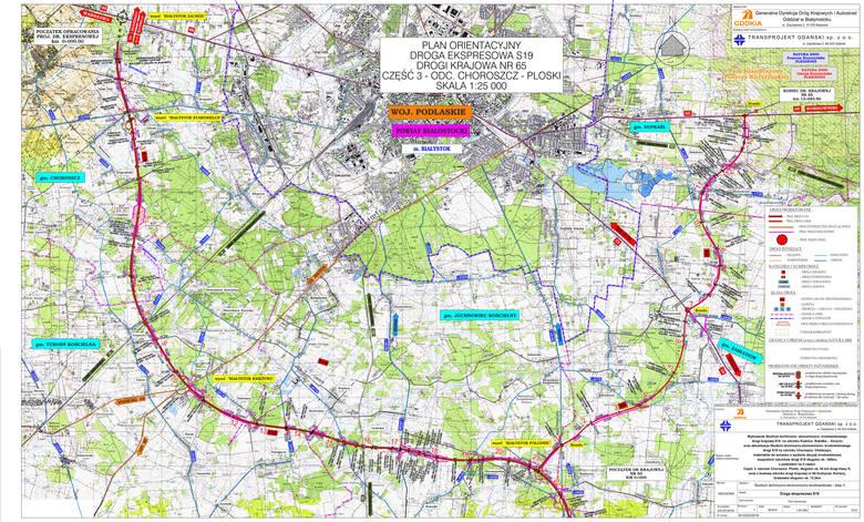 Tak orientacyjnie będzie przebiegała droga S 19 na odcinku Choroszcz - Ploski