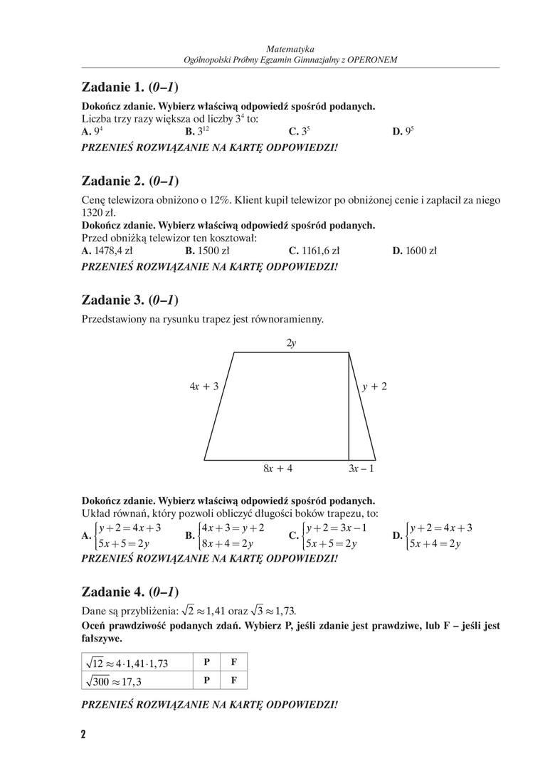 matematyka 2018 egzamin gimnazjalny odpowiedzi