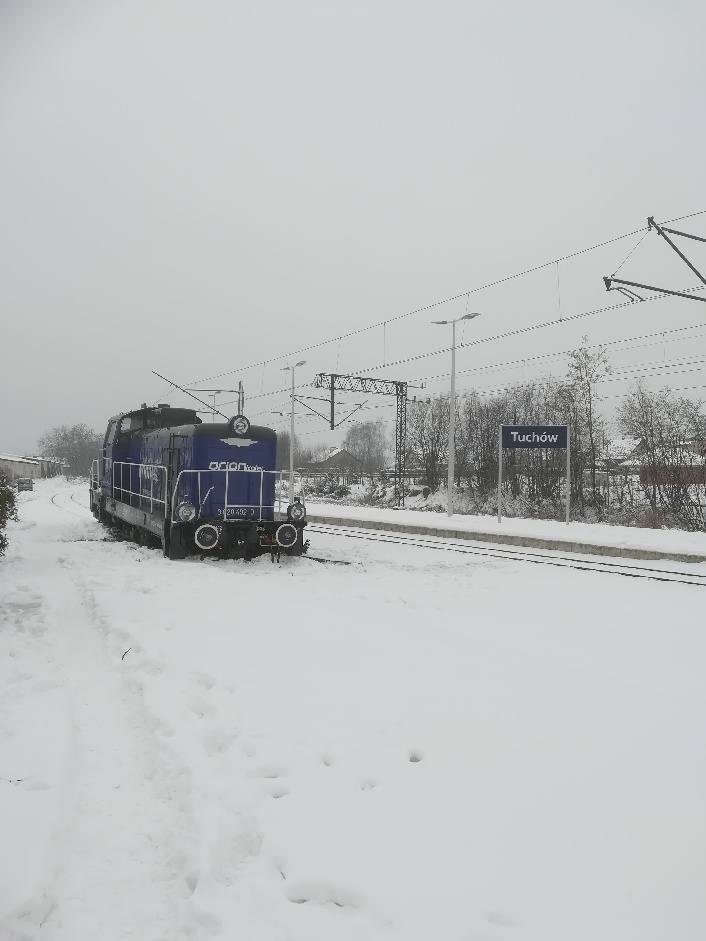 Lokomotywa stoi na bocznym torze na stacji Tuchów
