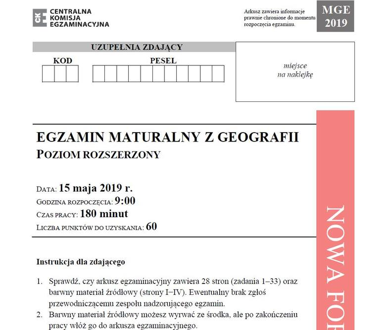 Matura 2019 GEOGRAFIA poziom rozszerzony ODPOWIEDZI I ARKUSZ CKE. Matura z geografii rozszerzenie 15.05.2019 - pytania, odpowiedzi