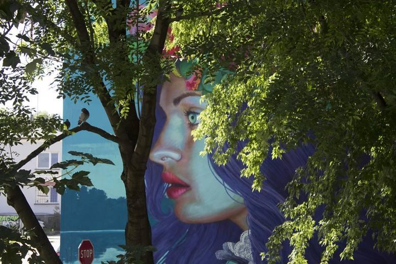 Ten przepiękny mural  na ścianie budynku przy ul. Cieszyńskiej 36  odwołuje się do nocy świętoja-ńskiej - pradawnego święta słowiań-skiego, związanego z letnim przesile-niem Słońca i ze zwyczajem plecenia wianków przez młode dziewczyny. Mural przedstawia kobietę w profilu na tle jeziora, w...