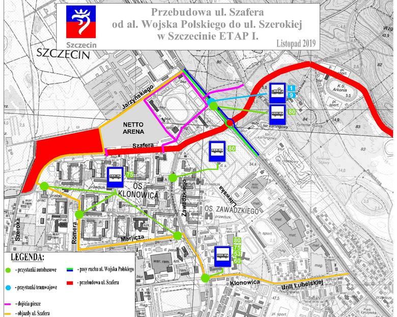 Przebudowa ul. Szafera w Szczecinie. Od 25.11.2019 zmiany w organizacji ruchu i komunikacji miejskiej
