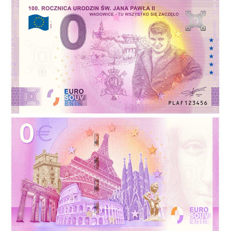 Nastoletni Karol Wojtyła, przyszły papież i święty; Jan Paweł II, na kolekcjonerskim banknocie euro