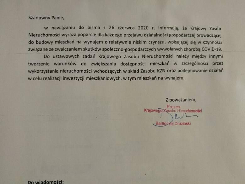 Pismo z KZN do dewelopera