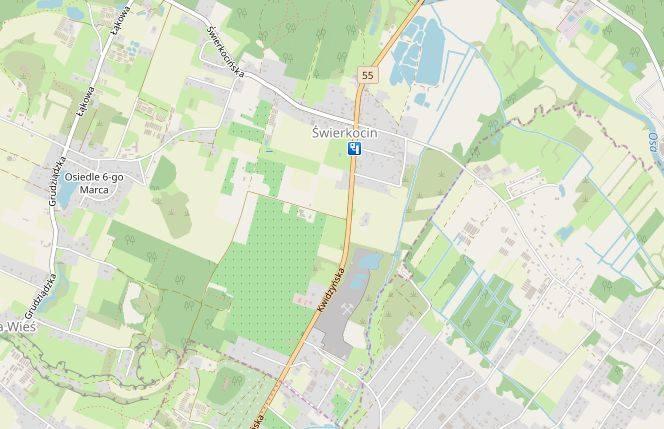 Miejscowość: ŚwierkocinGmina: GrudziądzDroga: DK 55Dozwolona prędkość: od 5 do 22:59 - 50 km/h, od 23 do 4:59 - 60 km/h