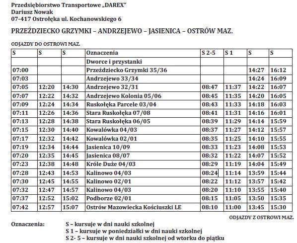Andrzejewo - rozkład jazdy autobusów