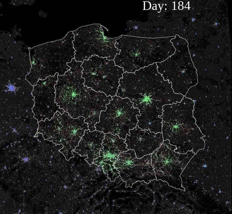 Symulacja rozprzestrzeniania się COVID-19 w Polsce.